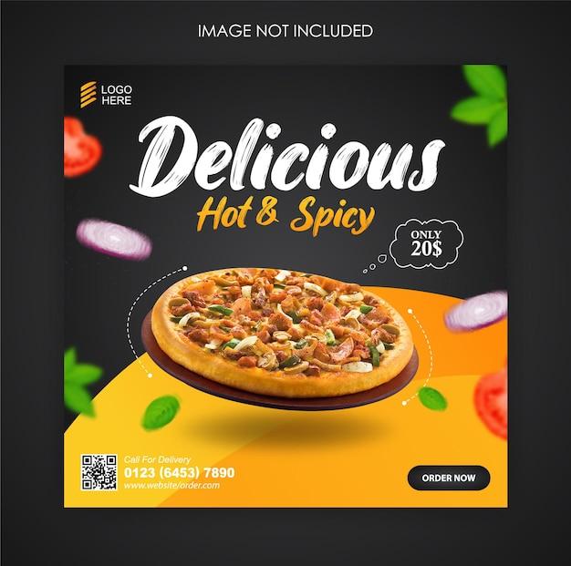 Promoção de mídia social de pizza food e modelo de postagem de banner