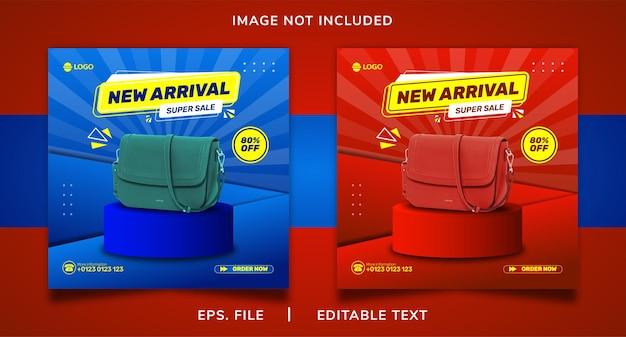 Promoção de mídia social de venda de bolsa de mão nova chegada e design de modelo de postagem de banner instagram
