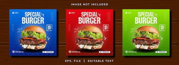 Promoção de mídia social de venda de comida de hambúrguer e design de postagem de banner instagram