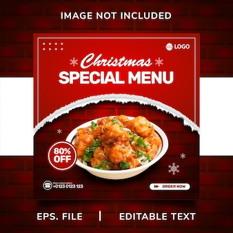 Promoção de mídia social de venda de comida de natal e design de modelo de postagem de banner instagram