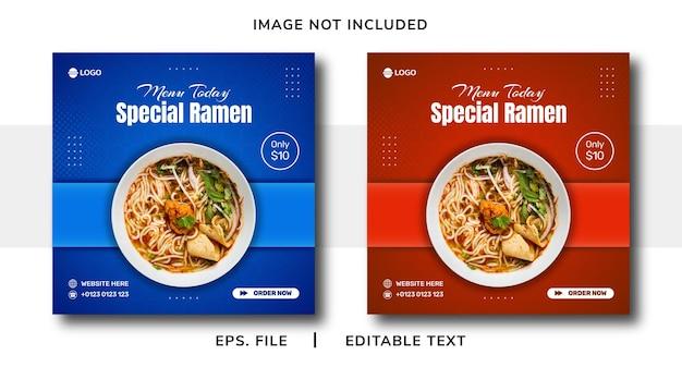 Promoção de mídia social de venda de comida ramen e design de postagem de banner instagram