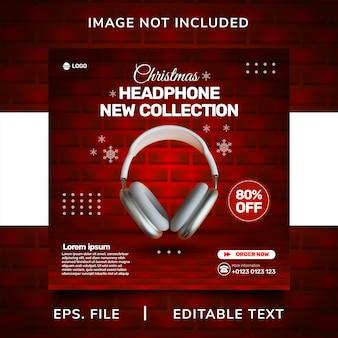 Promoção de mídia social de venda de fone de ouvido de natal e design de modelo de postagem de banner instagram