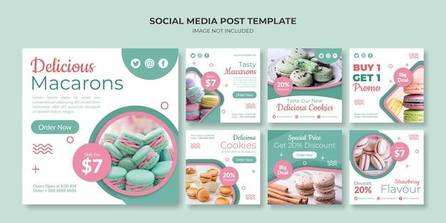Promoção de mídia social macaron e modelo de postagem no instagram
