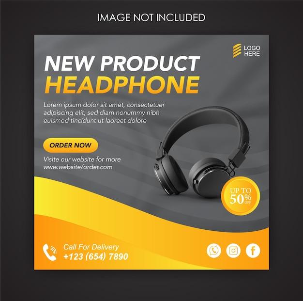 Promoção de mídia social para fones de ouvido e modelo de postagem de banner