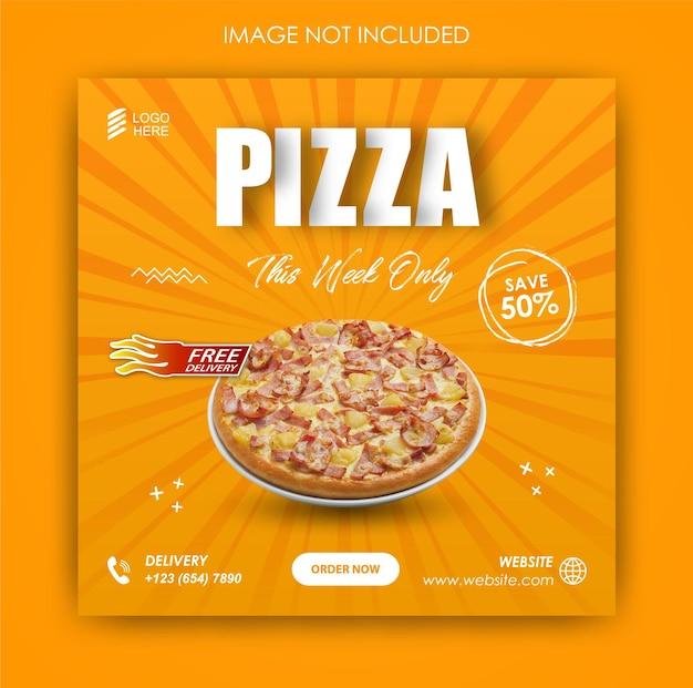 Promoção de mídia social pizza food e modelo de design de postagem no instagram