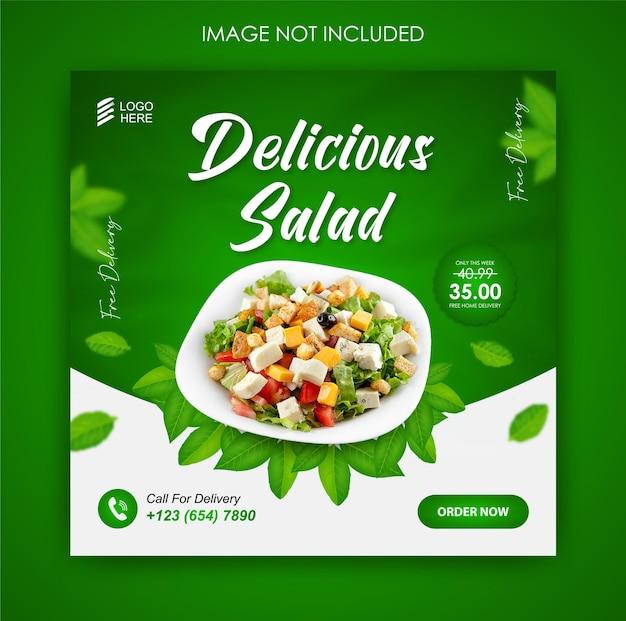 Promoção de mídia social, salada, comida e modelo de design de postagem no instagram