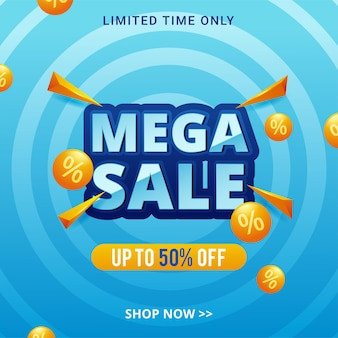 Promoção de modelo de banner de desconto de mega venda