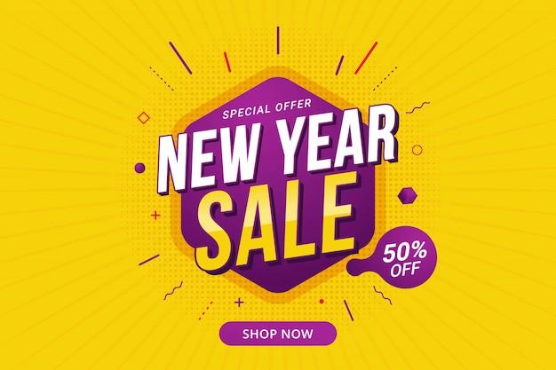 Promoção de modelo de banner de desconto de venda de ano novo