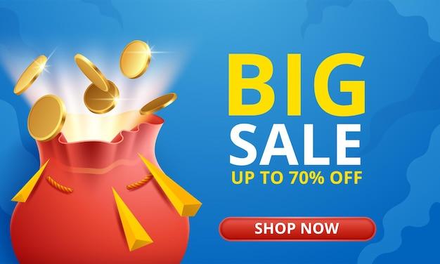 Promoção de modelo de banner de desconto em grande venda