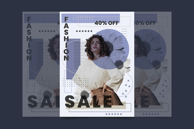 Promoção de modelo de cartaz de venda de moda