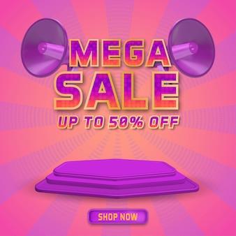 Promoção de modelo de mega venda de mídia social com display 3d pódio e megafone realista