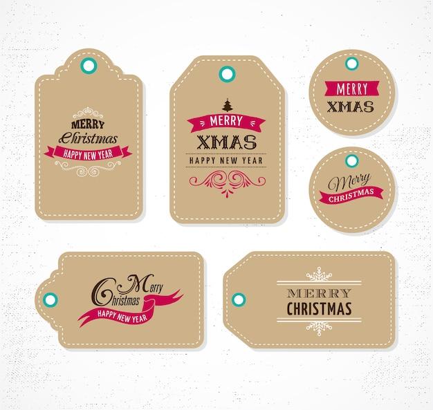 Promoção de natal, etiquetas para presentes e etiquetas