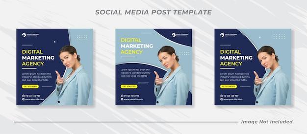 Promoção de negócios e modelo de banner de mídia social corporativa ou flyer quadrado