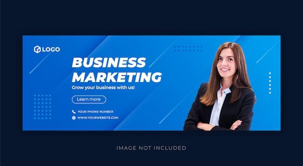 Promoção de negócios e modelo de capa azul do facebook corporativo