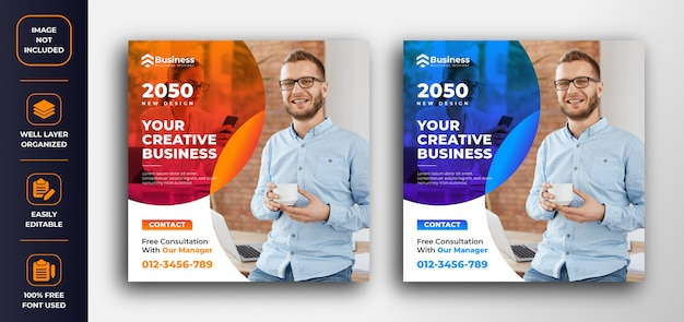 Promoção de negócios e modelo de design de banner web corporativa