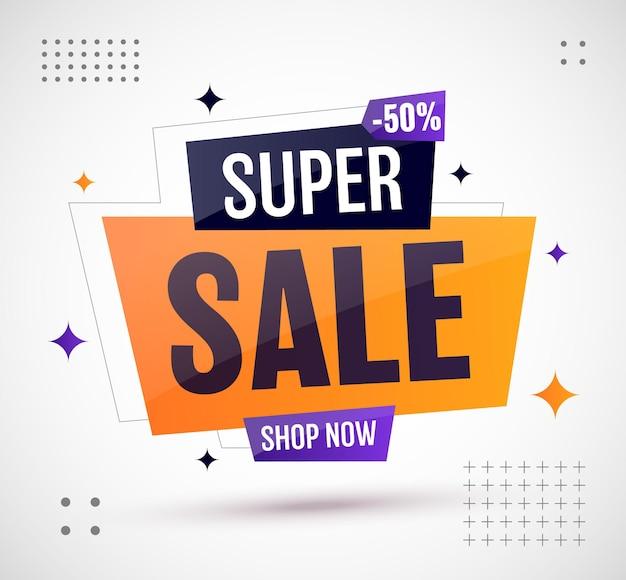 Promoção de oferta especial de desconto de design de banner de super venda
