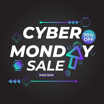 Promoção de postagem em mídia social de venda cibernética de segunda-feira
