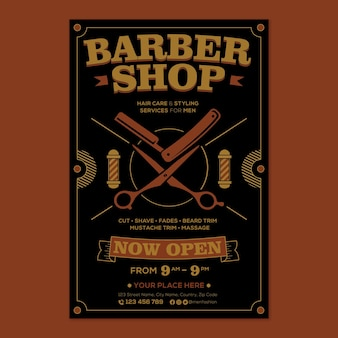 Promoção de pôster de barbearia em estilo design plano