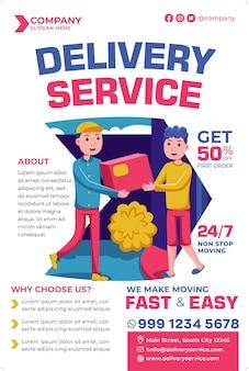 Promoção de pôster de serviço de entrega em estilo design plano