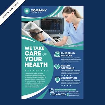 Promoção de pôster médico em estilo design plano