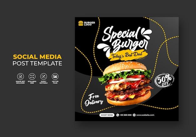 Promoção de restaurante de fast-food hambúrguer para modelo de mídia social.