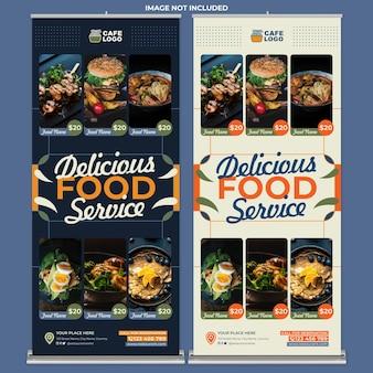 Promoção de restaurante modelo de impressão de banner em rolo em estilo design plano
