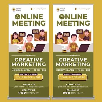 Promoção de reunião on-line roll up banner print template em flat design style