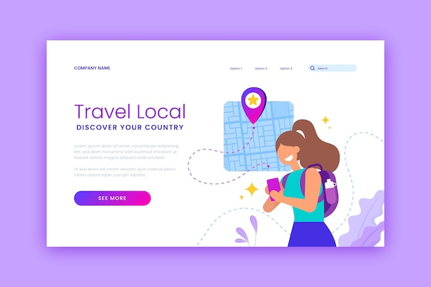 Promoção de turismo local na página de destino