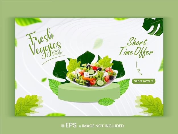 Promoção de vegetais frescos e saudáveis oferta modelo de banner da web vetor premium