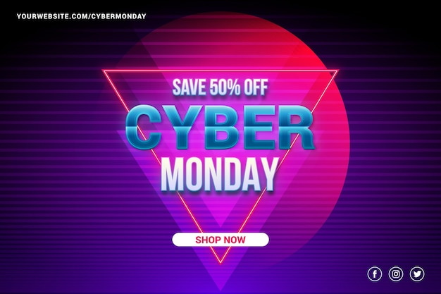 Promoção de venda cyber segunda-feira em papel de parede de estilo futurista retro