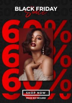Promoção de venda de até 60% da black friday com modelo de design estético