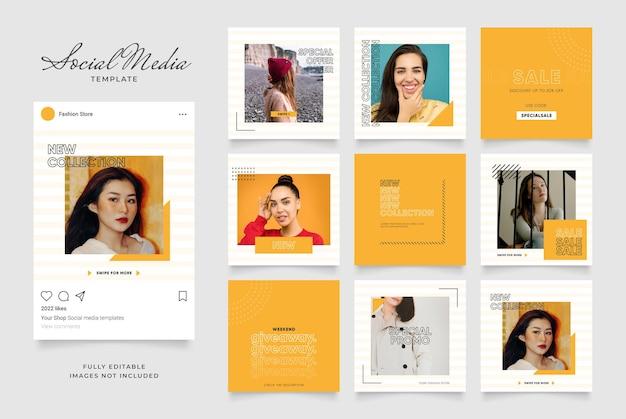 Promoção de venda de banner de modelo de mídia social. quebra-cabeça do quadro do post quadrado do instagram totalmente editável.