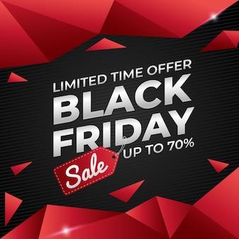 Promoção de venda de banner na sexta-feira preta com vermelho e preto