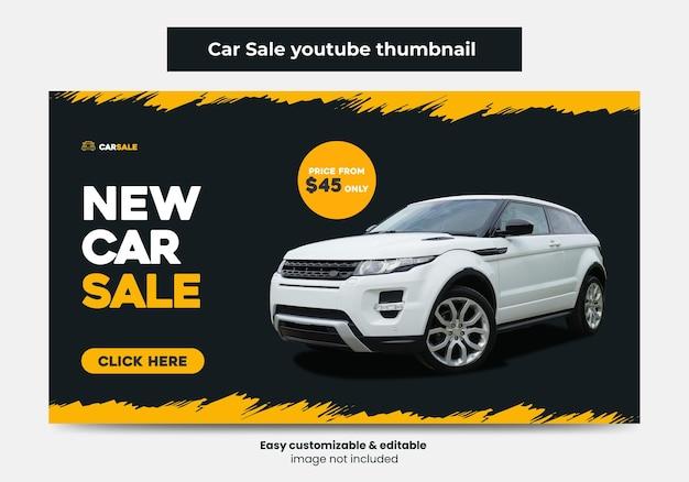 Promoção de venda de carros youtube thumbnail design e web banner miniatura de vídeo de serviço de aluguel de carros