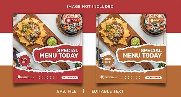 Promoção de venda de comida em mídia social e design de modelo de postagem de banner instagram