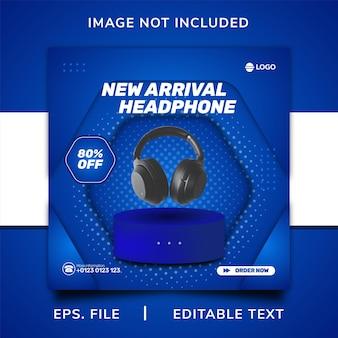 Promoção de venda de fone de ouvido em mídia social e design de modelo de postagem de banner instagram