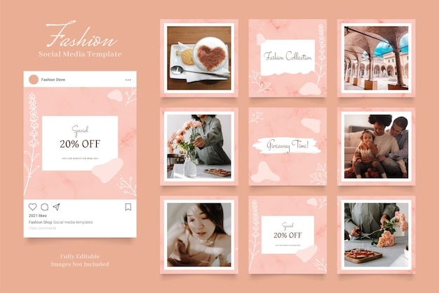 Promoção de venda de moda de banner de mídia social. cor marrom rosa pêssego