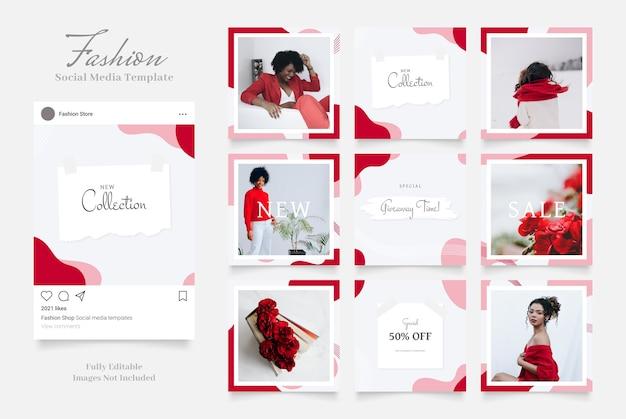 Promoção de venda de moda de banner de mídia social. vermelho rosa branco