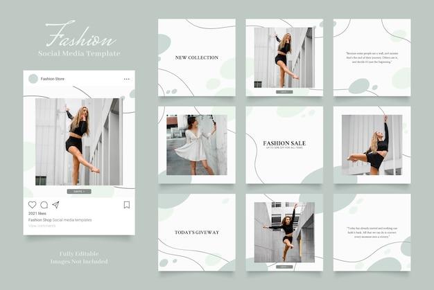 Promoção de venda de moda de banner de modelo de mídia social. instagram totalmente editável e facebook quadrado post quadro quebra-cabeça orgânico venda branco verde
