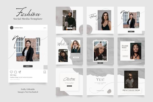 Promoção de venda de moda de banner de modelo de mídia social. post frame puzzle preto cinza branco cores