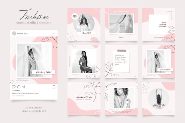 Promoção de venda de moda de banner de modelo de mídia social. venda orgânica do quebra-cabeça da moldura do instagram e facebook totalmente editáveis