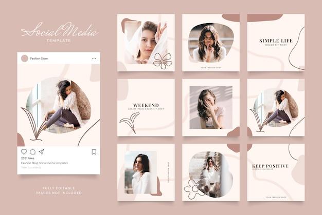 Promoção de venda de moda de banner de modelo de mídia social.