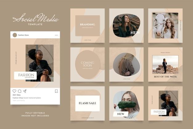 Promoção de venda de moda de banner de modelo de mídia social. Vetor Premium