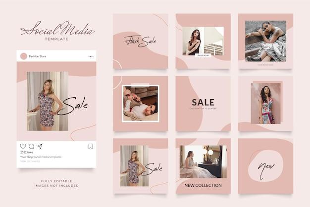 Promoção de venda de moda de blog de banner de modelo de mídia social.