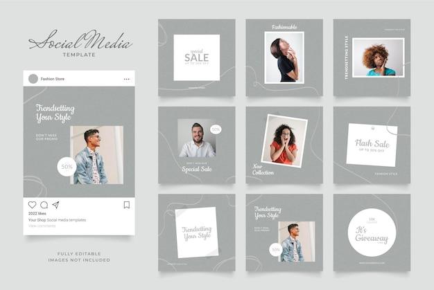 Promoção de venda de moda de blog de modelo de mídia social.