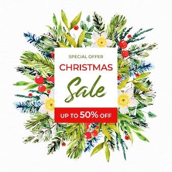 Promoção de venda de natal em aquarela