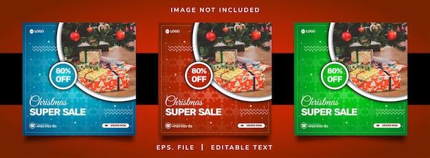 Promoção de venda de natal em mídia social e design de modelo de postagem de banner instagram