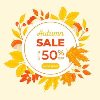 Promoção de venda de outono desenhada de mão