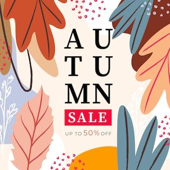 Promoção de venda de outono em aquarela