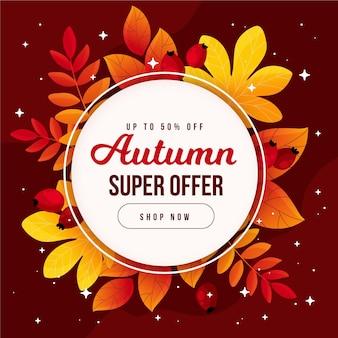 Promoção de venda de outono plana